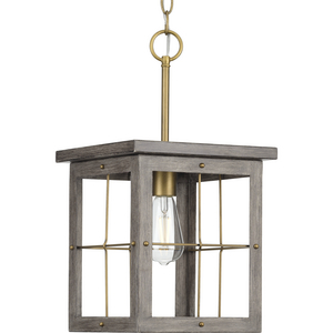 Hedgerow Collection One-Light Distressed Brass and Aged Oak Farmhouse Style Hanging Mini-Pendant Light