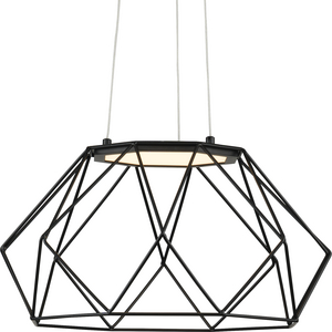 Geodesic LED Collection Matte Black Modern Style Medium Hanging Pendant Light