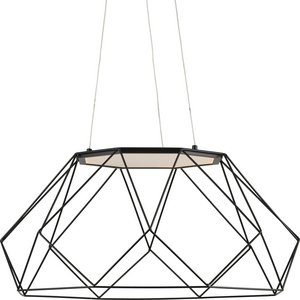 Geodesic LED Collection Matte Black Modern Style Large Hanging Pendant Light