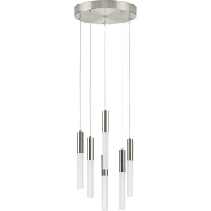 Kylo LED Collection Six-Light Brushed Nickel Modern Style Hanging Pendant Light