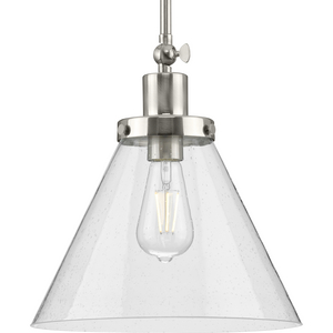 Hinton Collection One-Light Brushed Nickel and Seeded Glass Vintage Style Hanging Pendant Light