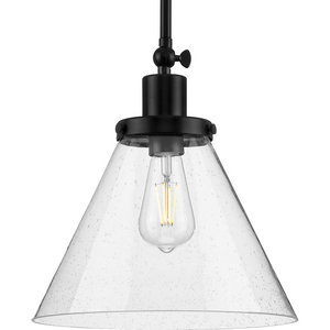 Hinton Collection One-Light Matte Black and Seeded Glass Vintage Style Hanging Pendant Light