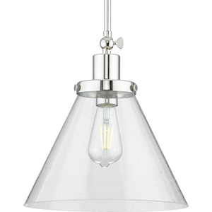 Hinton Collection One-Light Polished Nickel and Clear Seeded Glass Vintage Style Hanging Pendant Light