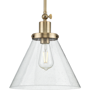 Hinton Collection One-Light Vintage Brass and Seeded Glass Vintage Style Hanging Pendant Light