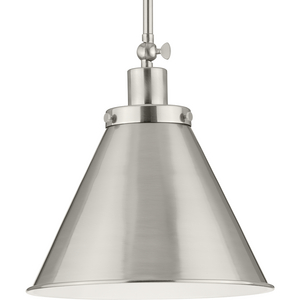 Hinton Collection One-Light Brushed Nickel Hanging Vintage Style Hanging Pendant Light