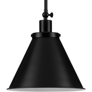 Hinton Collection One-Light Matte Black Vintage Style Hanging Pendant Light