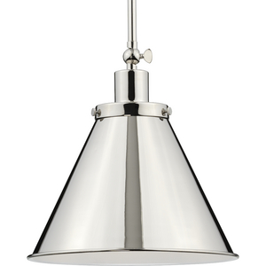 Hinton Collection One-Light Polished Nickel Vintage Style Hanging Pendant Light