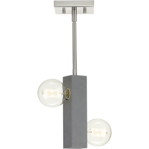 Mill Beam Collection Two-Light Brushed Nickel/Faux Concrete Industrial Style Convertible Mini-Pendant or Ceiling Light