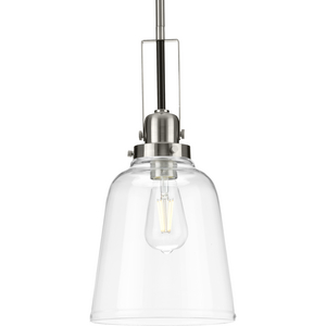 Rushton Collection One-Light Brushed Nickel/Black and Clear Glass Industrial Style Hanging Pendant Light