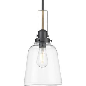 Rushton Collection One-Light Graphite/Vintage Brass and Clear Glass Industrial Style Hanging Pendant Light