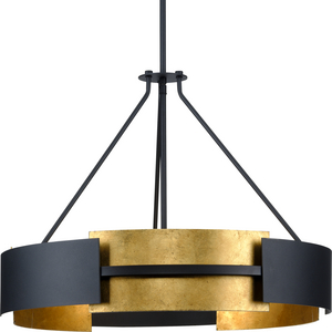 Lowery Collection Five-Light Textured Black/Distressed Gold Hanging Pendant Light
