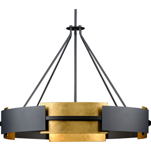 Lowery Collection Six-Light Textured Black/Distressed Gold Hanging Pendant Light