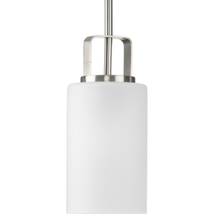 League Collection One-Light Brushed Nickel and Etched Glass Modern Farmhouse Mini-Pendant Hanging Light
