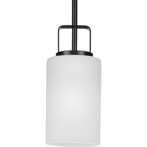 League Collection One-Light Matte Black and Etched Glass Modern Farmhouse Mini-Pendant Hanging Light