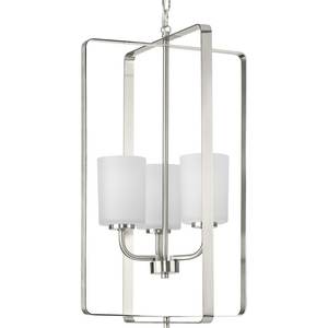 League Collection Three-Light Brushed Nickel and Etched Glass Modern Farmhouse Foyer Chandelier Light