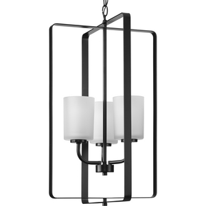 League Collection Three-Light Matte Black and Etched Glass Modern Farmhouse Foyer Chandelier Light