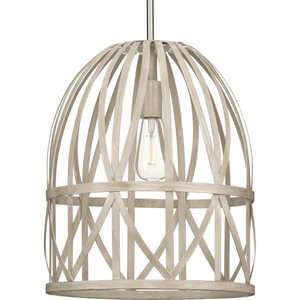Chastain Collection  One-Light Brushed Nickel Bleached Oak Basket Farmhouse Pendant Light