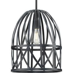 Chastain Collection  One-Light Textured Black Cerused Black Oak Basket Farmhouse Pendant Light