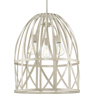 Chastain Collection Three-Light Brushed Nickel Bleached Oak Basket Farmhouse Pendant Light
