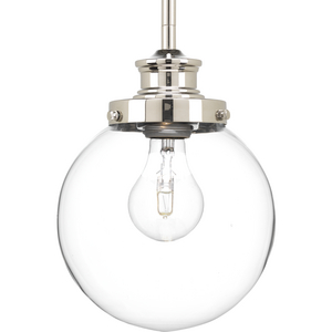 Penn Collection One-Light Polished Nickel Clear Glass Farmhouse Mini-Pendant Light