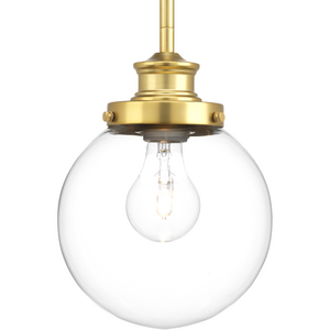 Penn Collection One-Light Natural Brass Clear Glass Farmhouse Mini-Pendant Light