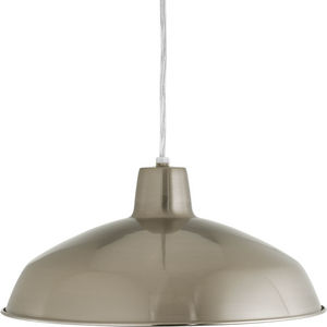 Metal Shade Collection One-Light Brushed Nickel Spun Metal Shade Farmhouse Pendant Light