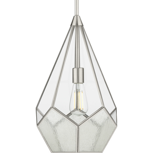 Cinq Collection One-Light Brushed Nickel Clear Glass Global Pendant Light