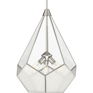 Cinq Collection Three-Light Brushed Nickel Clear Glass Global Pendant Light