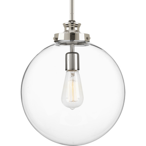 Penn Collection One-Light Polished Nickel Clear Glass Farmhouse Pendant Light