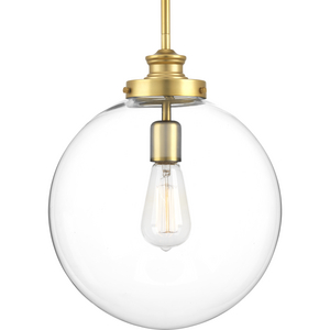 Penn Collection One-Light Natural Brass Clear Glass Farmhouse Pendant Light