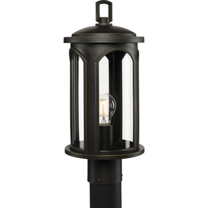 Gables Collection One-Light Antique Bronze and Clear Glass Transitional Style Outdoor Post Lantern with DURASHIELD