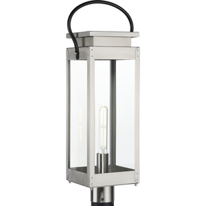 Union Square Collection One-Light Stainless Steel and Clear Glass Outdoor Post Lantern