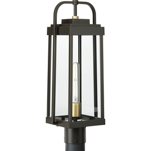 Walcott Collection  One-Light  Antique Bronze with Brasstone Accents Clear Glass Transitional Outdoor Post Light