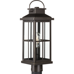 Williamston Collection One-Light Antique Bronze and Clear Glass Transitional Style Outdoor Post Lantern