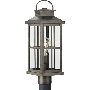 Williamston Collection One-Light Antique Pewter and Clear Glass Transitional Style Outdoor Post Lantern