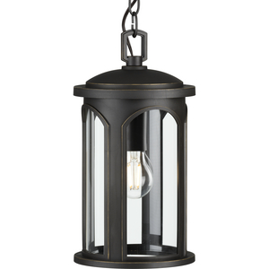 Gables Collection One-Light Antique Bronze and Clear Glass Transitional Style Outdoor Hanging Pendant Lantern with DURASHIELD