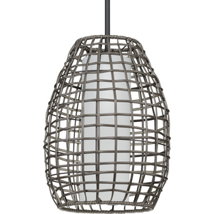 Pawley Collection One-Light Matte Black and Dark Gray Rattan Indoor/Outdoor Hanging Pendant Light