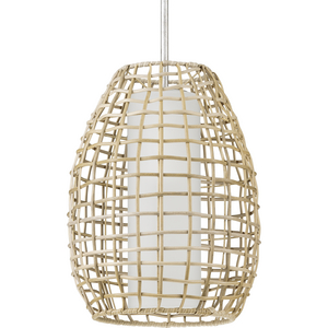Pawley Collection One-Light Galvanized and Natural Rattan Indoor/Outdoor Hanging Pendant Light