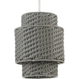 Manteo One-Light Cottage White with Weathered Grey Rattan Indoor/Outdoor Hanging Pendant Light
