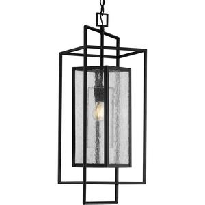 Navarre One-Light Matte Black and Seeded Glass Indoor/Outdoor Hanging Pendant Light