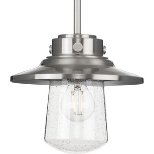 Tremont Collection One-Light Stainless Steel and Clear Seeded Glass Farmhouse Style Hanging Mini-Pendant Light