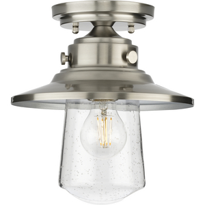 Tremont Collection One-Light Stainless Steel and Clear Seeded Glass Farmhouse Style Ceiling Light