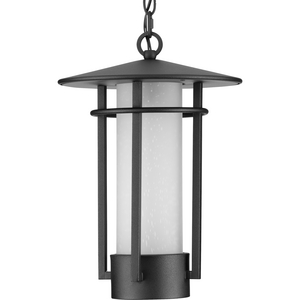 Exton Collection One-Light Textured Black and Etched Seeded Glass Modern Style Outdoor Hanging Pendant Lantern