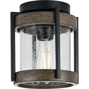 Whitmire Collection  One-Light Matte Black with Aged Oak Accents Clear Seeded Glass Farmhouse Outdoor Ceiling Mount Light
