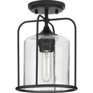 Watch Hill Collection  One-Light Textured Black Clear Seeded Glass Farmhouse Semi-Flush Light