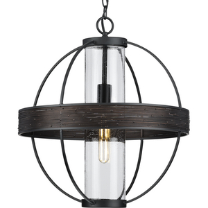 Terrace Collection  One-Light Matte Black Clear Seeded Glass Global Outdoor Hanging Light