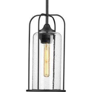 Watch Hill Collection One-Light Textured Black and Clear Seeded Glass Farmhouse Style Outdoor Hanging Pendant Lantern