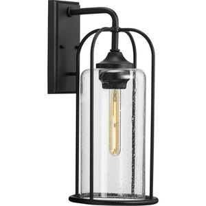 Watch Hill Collection One-Light Textured Black and Clear Seeded Glass Farmhouse Style Large Outdoor Wall Lantern