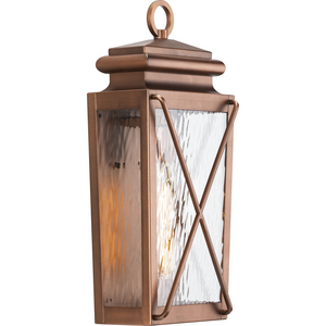 Wakeford Collection One-Light Antique Copper and Clear Water Glass Transitional Style Small Outdoor Wall Lantern