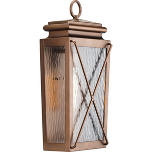 Wakeford Collection One-Light Antique Copper and Clear Water Glass Transitional Style Medium Outdoor Wall Lantern